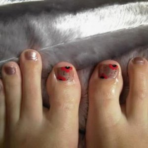 silver polish with red flowers