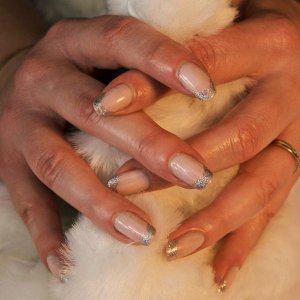 Natural Nails with Pink beds & Disco Ball Tips