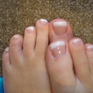 after a white tip in L&P CND.  Not totally happy with them.. hence i ripped the length off them... I also have bunyons on my big toes so they never look straight.. drives me nuts..