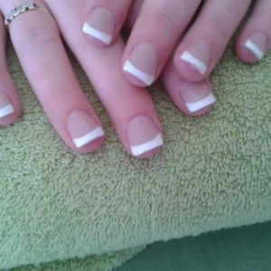 and after L&p sculpt with shellac cream puff french finish. (with a little dust still under the ring finger)