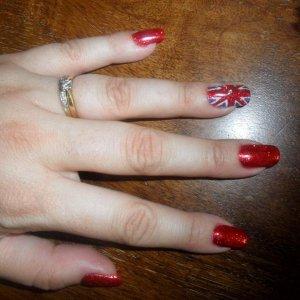 union jack rockstar shellac nails for a union jack party