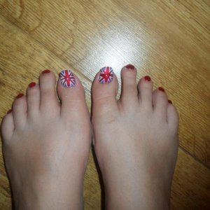 union jack toes painted with polish to match my hands for a union jack party