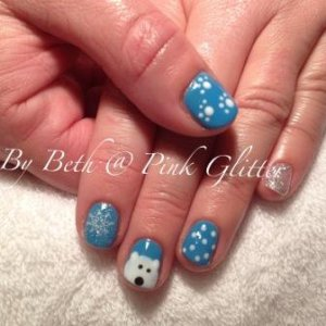 Polar blue with glitter, snow flakes, dots, a hand painted polar bear & paw prints