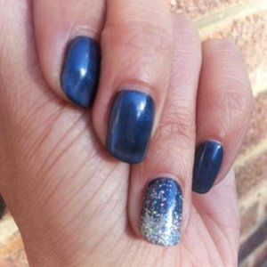 Shellac Blackpool & Negligee with Silver Holographic Glitter in the sunshine!