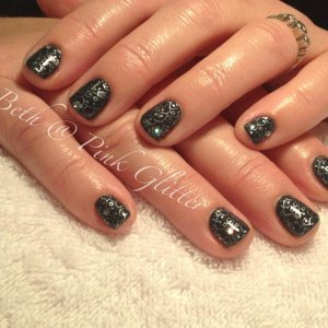 Victoria Falls with Silver Konad stamps and silver glitter hex