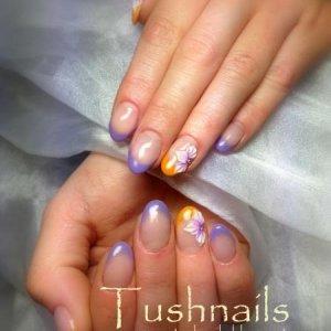 hybrid gel nails on natural nails