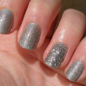 OPI DS Coronation & Silver Glitter on ring finger