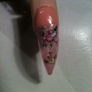 This has to be the worst nail ever, iiikkk a pink poodle…