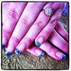 blue glitter tips with blue and silver shards