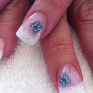 glitter tips with fimo butterfly