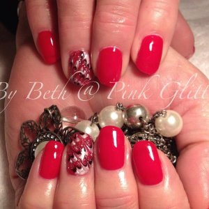Royal Red overlays with Silky Satin, Duchess & Licorice detail on ring finger