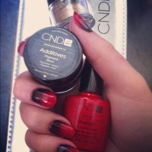 Wildfire CND Shellac with Additive- black mixed with a hint of antique bronze
