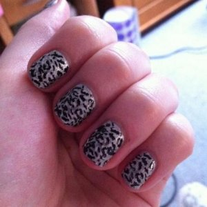 Silver polish with konad stamping