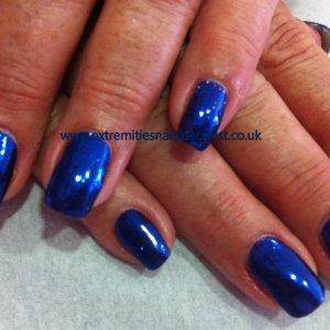 Blue glitter, Brisa Gel and Shellac
