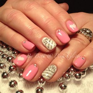 Pink Iceberg overlays with French white on ring finger, stamping with gems & bullions