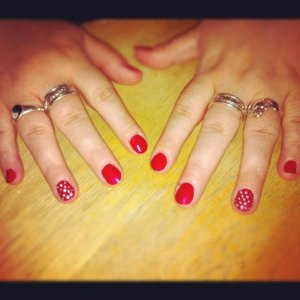 OPI Red with Silver accents.