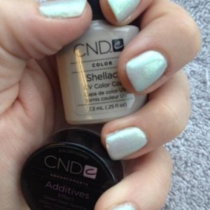 CND Shellac in Cityscape with Green Gold Sparkle Additive.