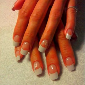 NSI French Tip Acrylic Extensions with Decals