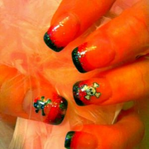 NSI Black & Pink Glitter with skull decals