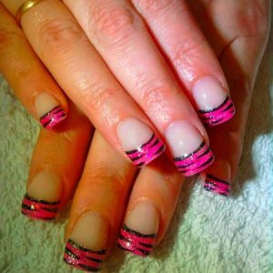 NSI PINK Glitter Extensions with Tiger Art