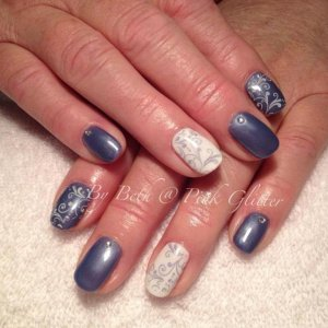 Denim & French white with stamping and gems