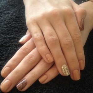 Cocoa Shellac with gold and bronze glitter