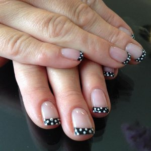 Blackpool french manicure with Cream puff polka dots.