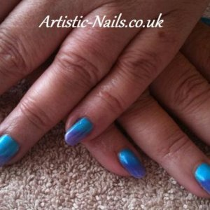 Cerulean Blue and Purple over Gelish Sheek White.