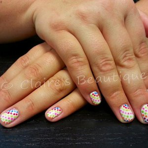Sheek White with Rainbow Dots