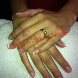 Beau with Cream Puff and a subtle pink and white glitter tip x