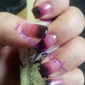 Gelish Fade using Simple Sheer, Passion and Black Shadow. I then topped it all off with some Ali Baba's