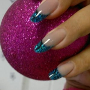 CND Cerulean blue, with spectrum shimmer additives in ret + L&P CB with hand painted art