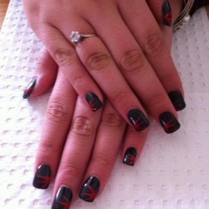 Black Acrylics with simple red striping