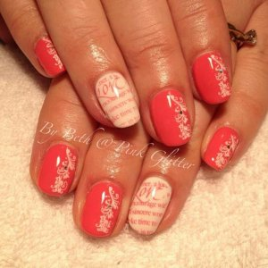 Fruity Tooty and French White overlays with stamping and glitter hex