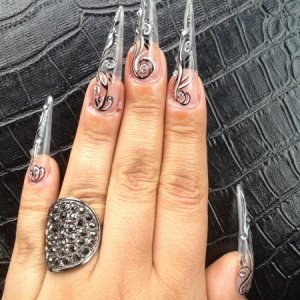 Clear l&p stilletto with nailart