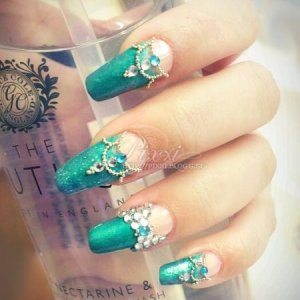 teal design on my natural nails, that's why they look a bit wonky but I still like them