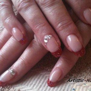 Glitter french with Swarovski crystals