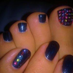 Midnight Swim Shellac with Multicoloured Diamante