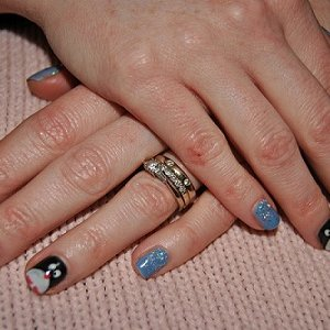 Up in the Blue Gelish with Silver Twinkle Additive