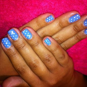Lizannes gelish with hand done spots!