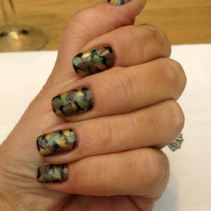 My Camo effect using Shellac Rubble with Opal Green pigment, Pearl Gold Pigment and Blackpool highlighting