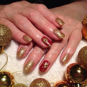 Christmas nails in Her Majesty & Moulin Rouge with striping tape present detail