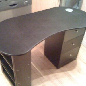HARD STANDING KIDNEY SHAPE TABLE BLACK VINYL, WITH SHELVES & DRAWERS, WIRE TIDY & CHROME DRAWER KNOBS & TOWEL HOLDER