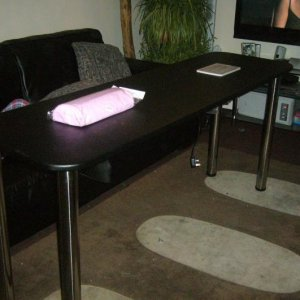 MODERN DOUBLE TABLE WITH 4 ADJUSTABLE ALUMINIUM LEGS AND EXTRATION FAN