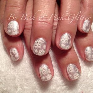 Silky Satin & Opal Glacier overlays with snowflake stamping & glitter hex