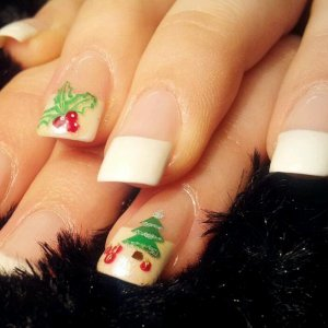 Gel extensions with Holly and Christmas tree theme nails!