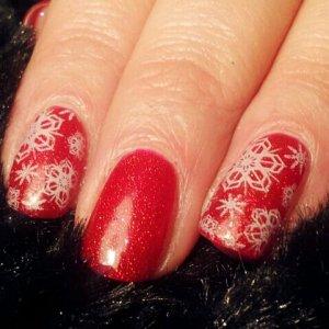 Snow flakes on Ruby Ritz Shellac