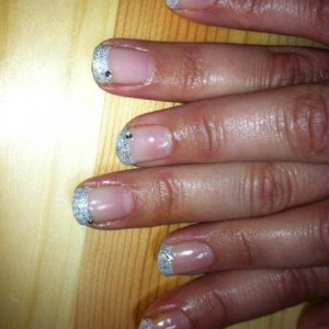 French gel overlay with duchess on white tips and diamanté detailing
