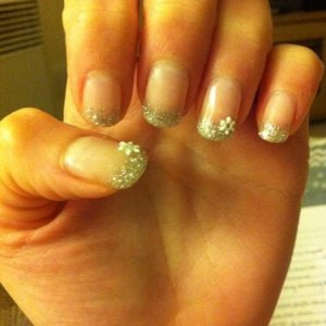 Clear base, duchess on tips and 3d snowflakes