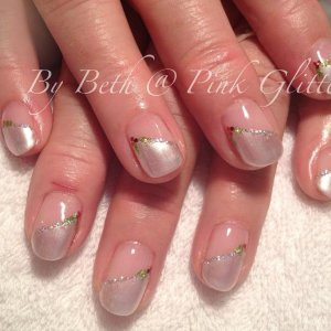 Silky Satin with holly and glitter detail